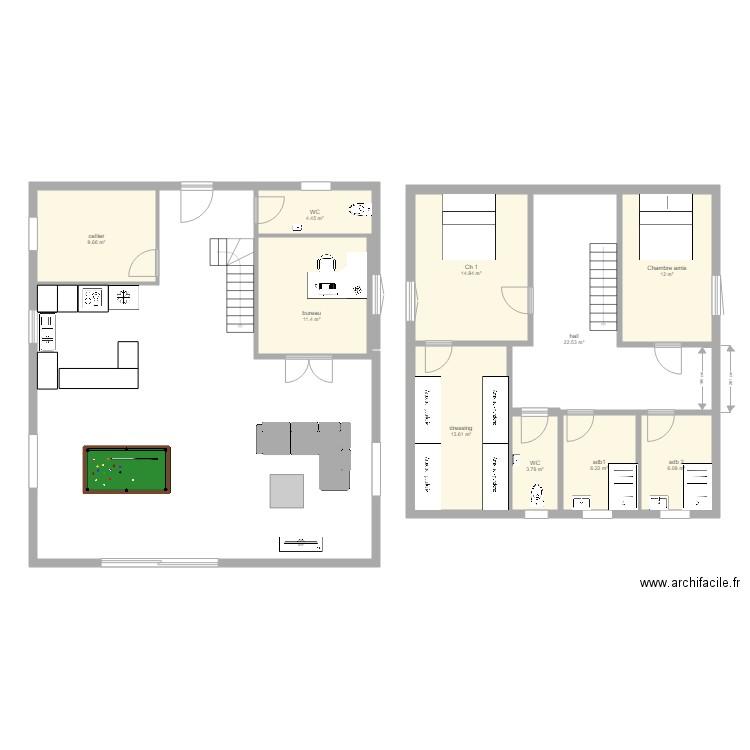 Maison Cube 10x10 Plan 10 Pieces 105 M2 Dessine Par Rtab