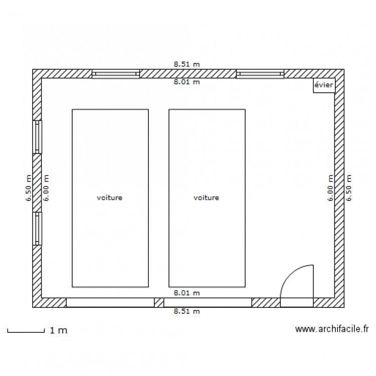 Garage double pilette07 plan 1 pi ce 48 m2 dessin par for Plan d un garage double