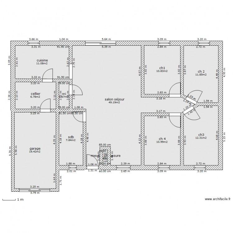 Plan maison 60m2 plain pied maison 5 chambres demandez - Plan maison 180 m2 plain pied ...