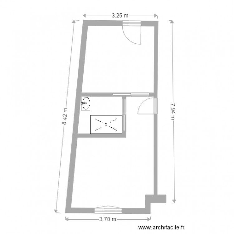 garage etat futur plan 3 pi ces 25 m2 dessin par clavel92. Black Bedroom Furniture Sets. Home Design Ideas