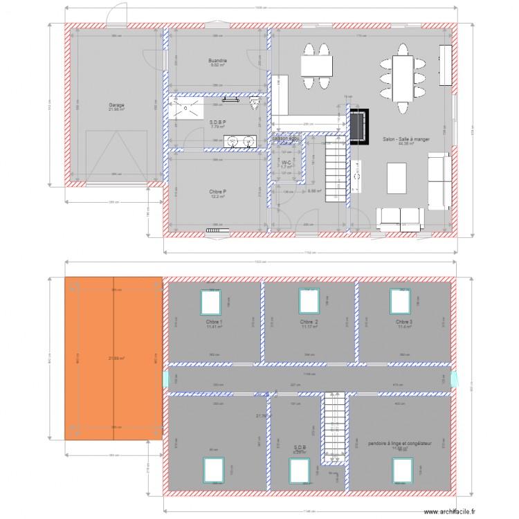 ess2 plan 15 pi ces 214 m2 dessin par kev10592. Black Bedroom Furniture Sets. Home Design Ideas