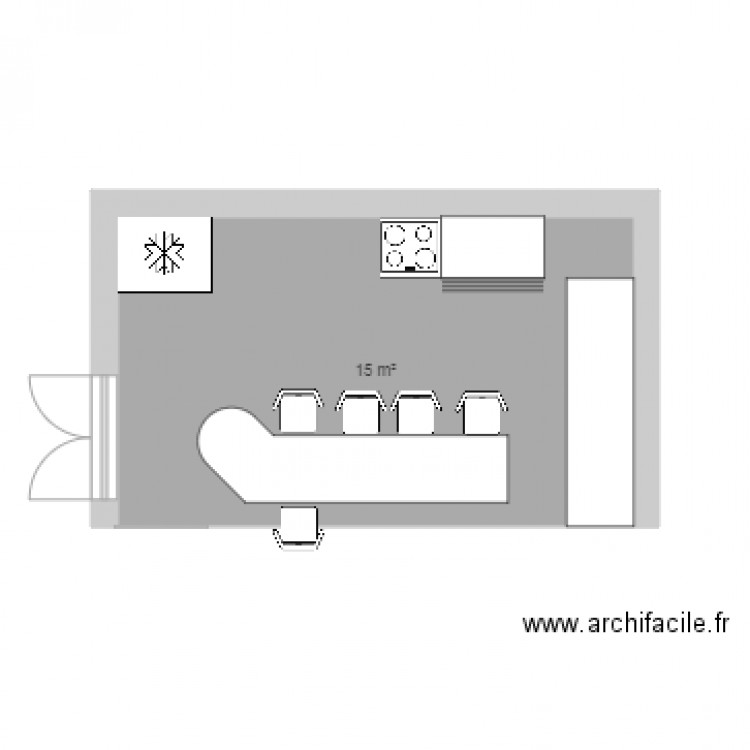 cuisine formation plan 1 pi ce 15 m2 dessin par momogeneve. Black Bedroom Furniture Sets. Home Design Ideas