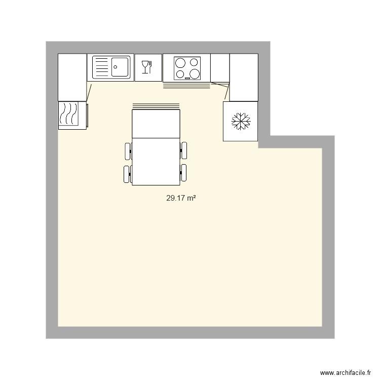 Cuisine plan 1 pi ce 29 m2 dessin par lastuch for Construire meuble cuisine