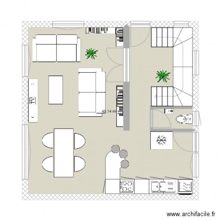 Maison 2 plan 1 pi ce 45 m2 dessin par karinepetit - Plan de maison 2 pieces ...