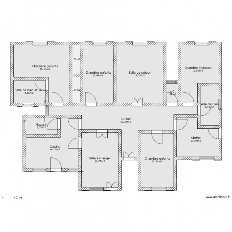 maison familiale plan 15 pi ces 153 m2 dessin par dieusai. Black Bedroom Furniture Sets. Home Design Ideas
