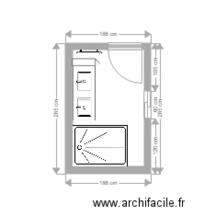 Plan salle de bain plan 1 pi ce 4 m2 dessin par karenh35 for Salle de bain 4 m2