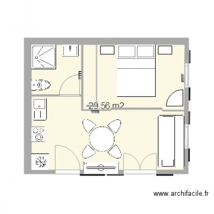 euronat 25m2 plan 1 pi ce 30 m2 dessin par am84800. Black Bedroom Furniture Sets. Home Design Ideas