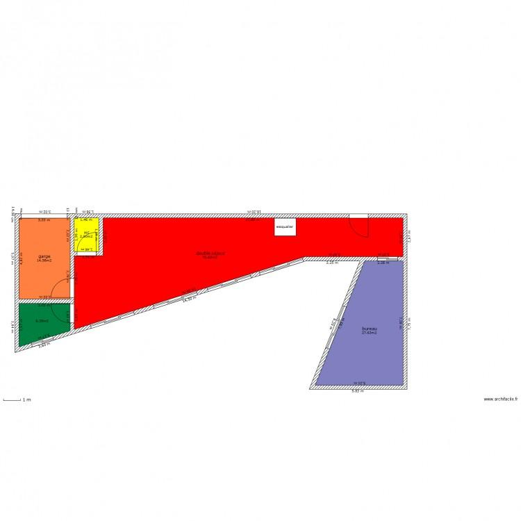 Maison en triangle plan 5 pi ces 122 m2 dessin par for Maison en triangle