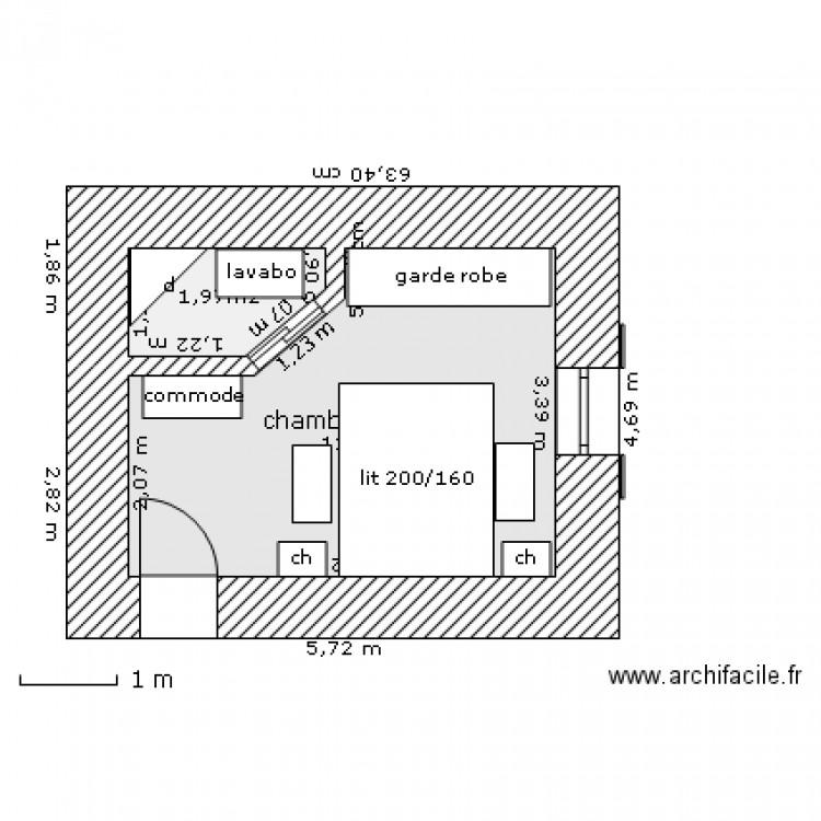 chambre parents avec coin douche lavabo plan 2 pi ces 14 m2 dessin par chtichristophe. Black Bedroom Furniture Sets. Home Design Ideas