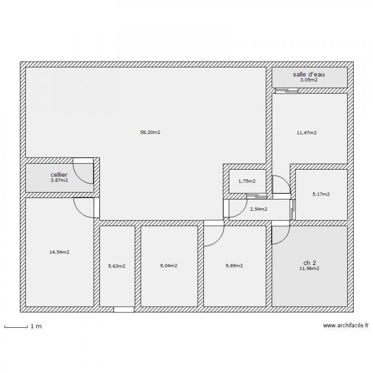 modele 2 plein pied 130 m2 v3 plan 12 pi ces 137 m2 dessin par mlk34. Black Bedroom Furniture Sets. Home Design Ideas