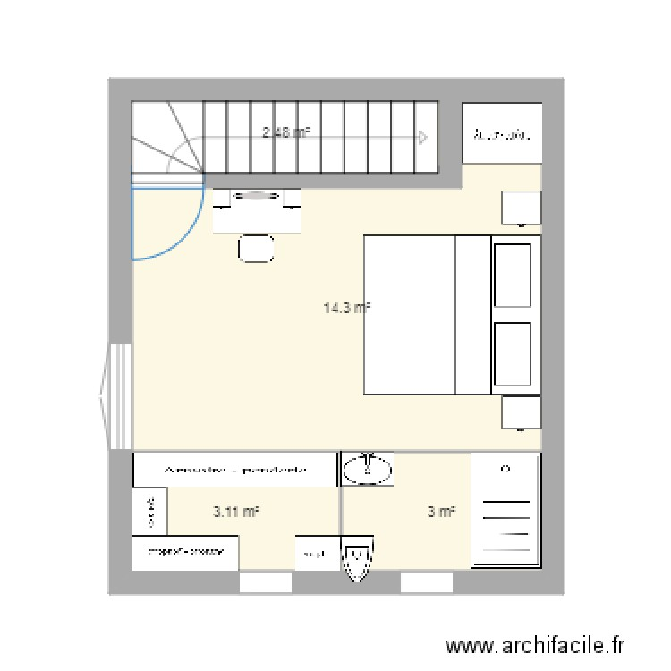 plan chambre parentale 1 plan 4 pi ces 23 m2 dessin par dorianekevin. Black Bedroom Furniture Sets. Home Design Ideas