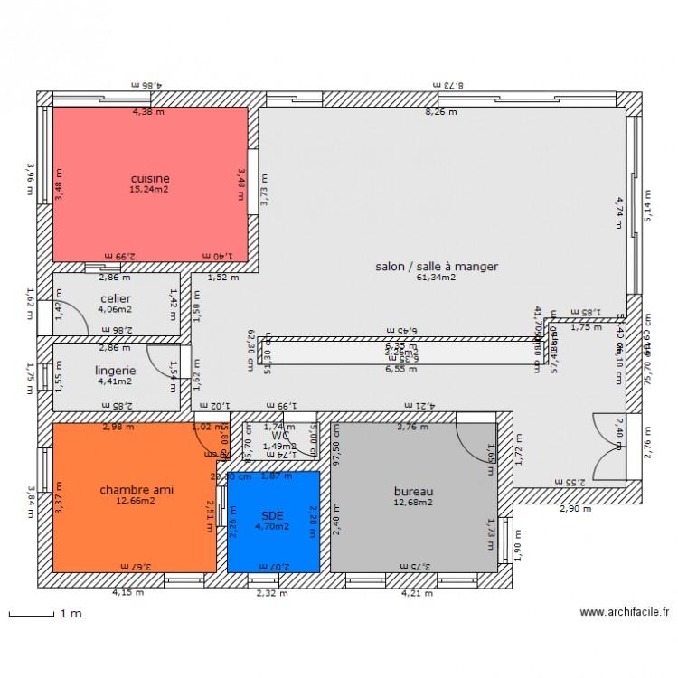 Maison feng shui rdc plan 9 pi ces 120 m2 dessin par sejb for Plan maison ideale feng shui