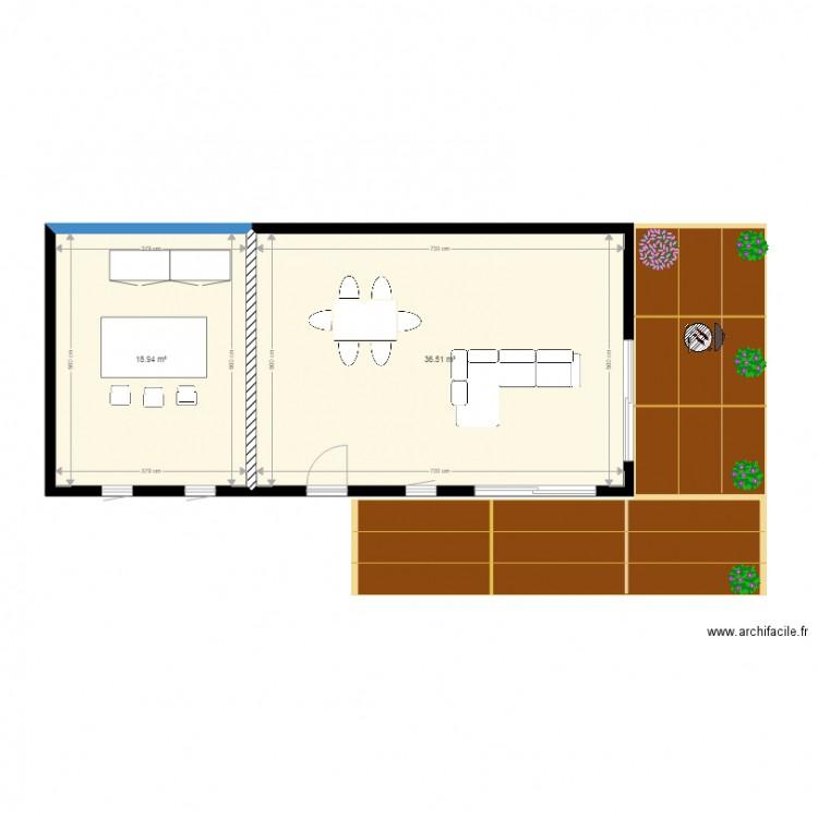 Agrandissement maison jeromefanny plan 2 pi ces 55 m2 for Agrandissement maison plan