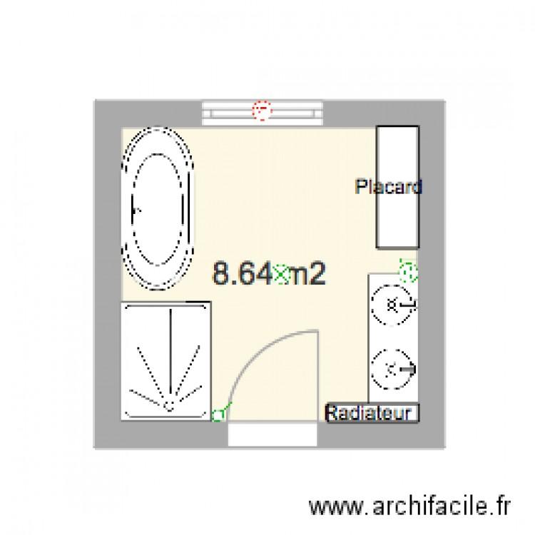Plan de la salle de bain plan 1 pi ce 9 m2 dessin par for Plan salle de bains gratuit