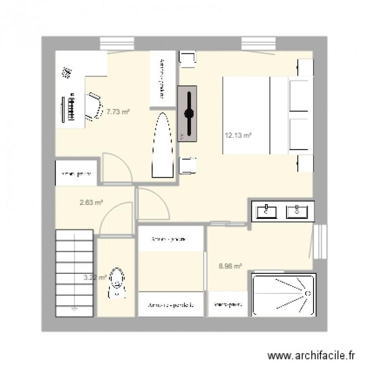Chambre parentale plan 5 pi ces 35 m2 dessin par for Taille chambre parentale