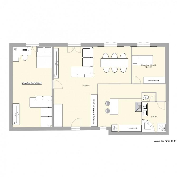 maison de reve plan 3 pi ces 115 m2 dessin par bomfreak. Black Bedroom Furniture Sets. Home Design Ideas