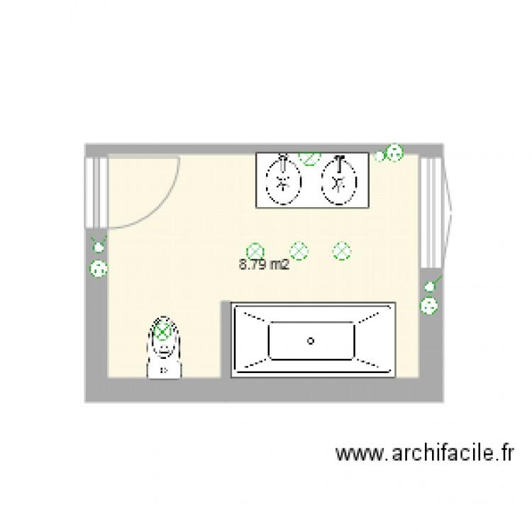 salle de bain 2 plan 1 pi ce 9 m2 dessin par pascalececchi. Black Bedroom Furniture Sets. Home Design Ideas
