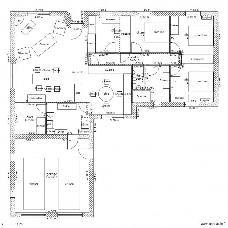nouveau plan maison avec meubles plan 8 pi ces 162 m2 dessin par jacolav79. Black Bedroom Furniture Sets. Home Design Ideas