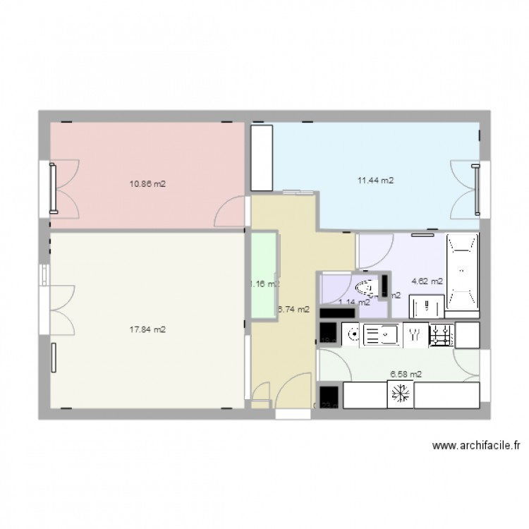 plan appartement 61 m2