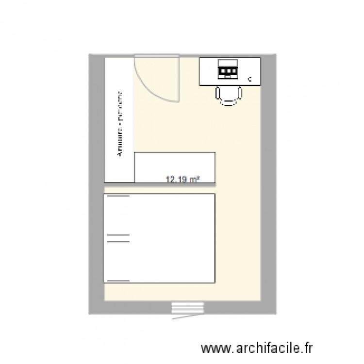 Chambre plan 1 pi ce 12 m2 dessin par melanienjy for Chambre one piece