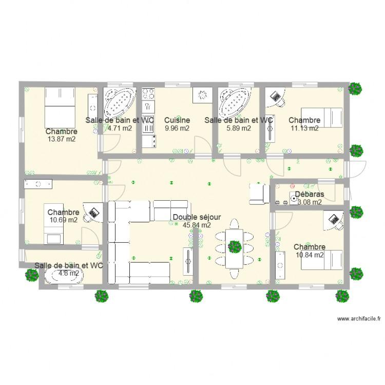 Villa cameroun plan 10 pi ces 121 m2 dessin par mbarga75012 for Dessine mes plans de maison