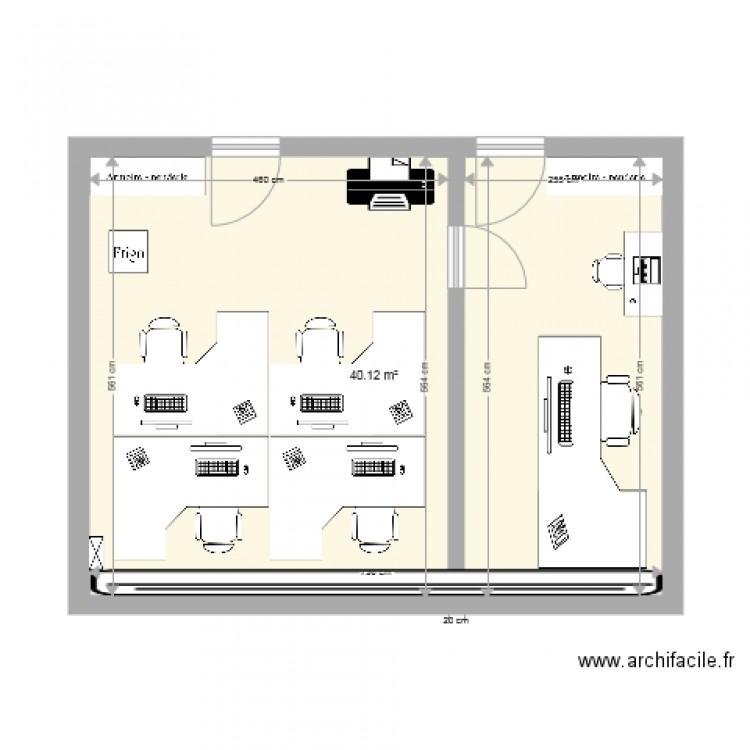 Bureau bci plan 1 pi ce 40 m2 dessin par sabrinarue for Nombre de m2 par personne bureau