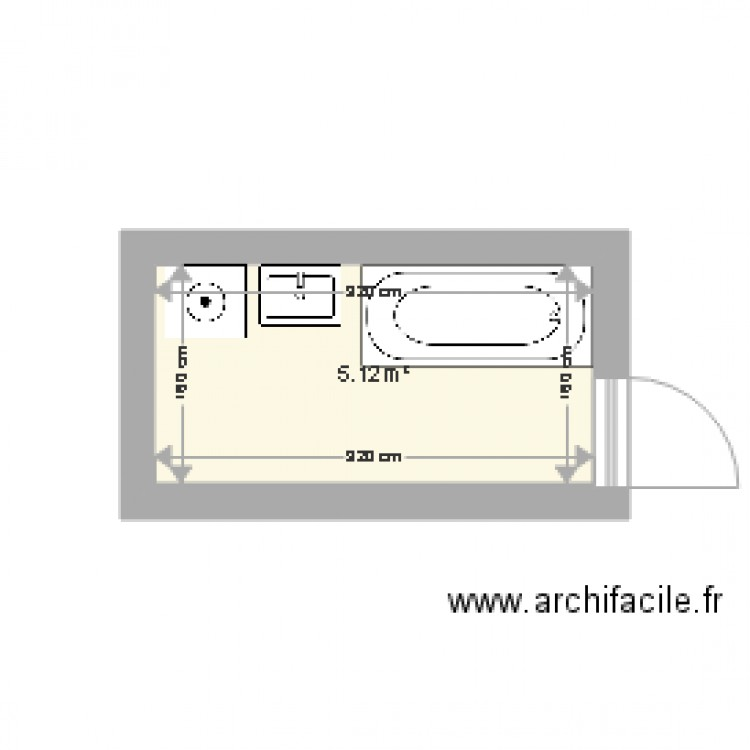 salle de bain eaubetech plan 1 pi ce 5 m2 dessin par eaubetech. Black Bedroom Furniture Sets. Home Design Ideas