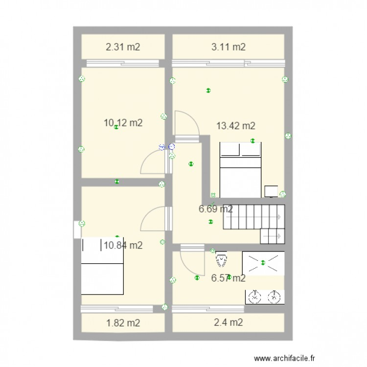 Am nagement combles plan 9 pi ces 57 m2 dessin par tt47180 - Plan d amenagement de combles ...