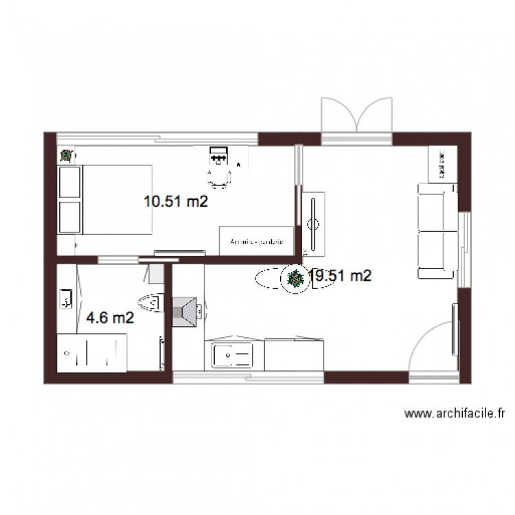 plan 2 appartement 36m2 infographie plan 3 pi ces 35 m2. Black Bedroom Furniture Sets. Home Design Ideas