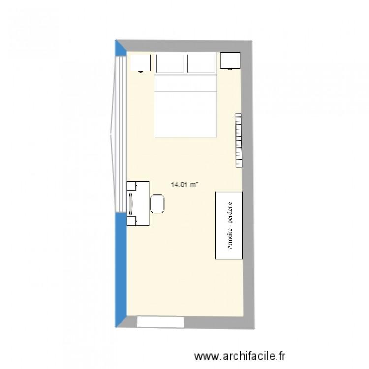 Chambre plan 1 pi ce 15 m2 dessin par valeriek59 for Chambre one piece