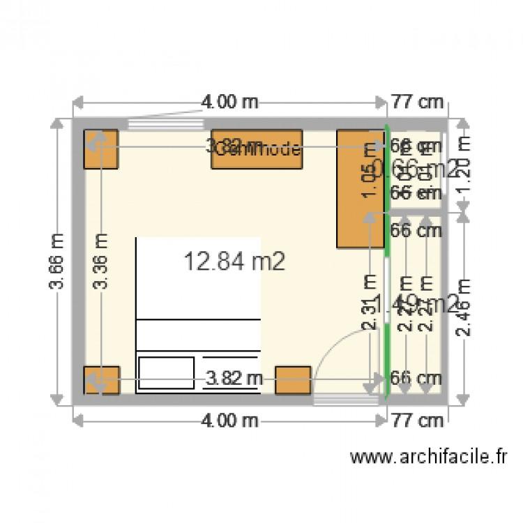 Chambre Balcon Meubl Plan 3 Pi Ces 15 M2 Dessin Par