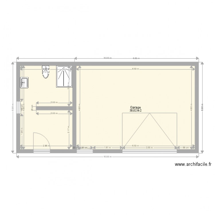 am nagement garage plan 2 pi ces 43 m2 dessin par famille goulut 21. Black Bedroom Furniture Sets. Home Design Ideas