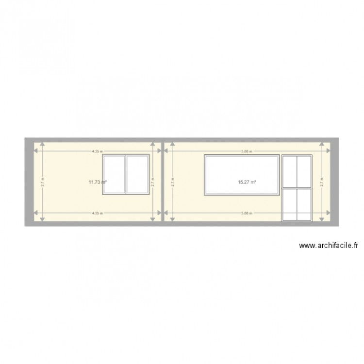 plan de fa ade en l vation plan 2 pi ces 27 m2 dessin par chaeliselou. Black Bedroom Furniture Sets. Home Design Ideas