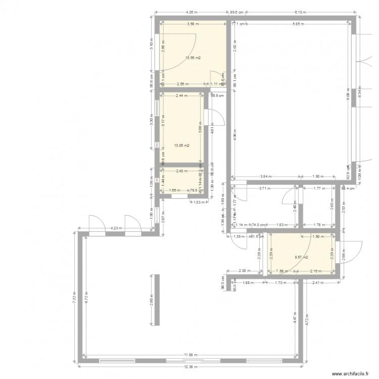 Maison 1 avec hall plan 3 pi ces 35 m2 dessin par neumohr - Plan maison avec cotation ...