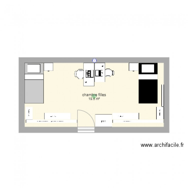Chambre filles plan 1 pi ce 20 m2 dessin par jerome amblard for Chambre one piece