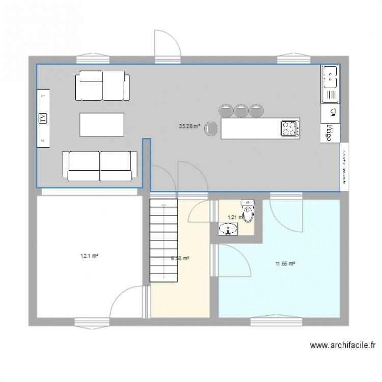 Bas de la maison plan 5 pi ces 67 m2 dessin par pjohanne62 for Plan de maison 5 pieces