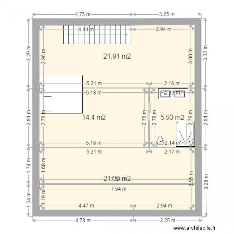 Plan etage 2 plan 4 pi ces 64 m2 dessin par vincent marmont for Garage du marmont