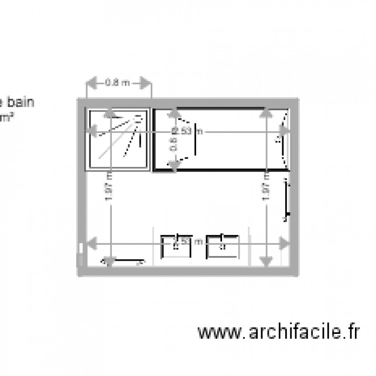 salle de bains plan 1 pi ce 5 m2 dessin par astrelluna. Black Bedroom Furniture Sets. Home Design Ideas