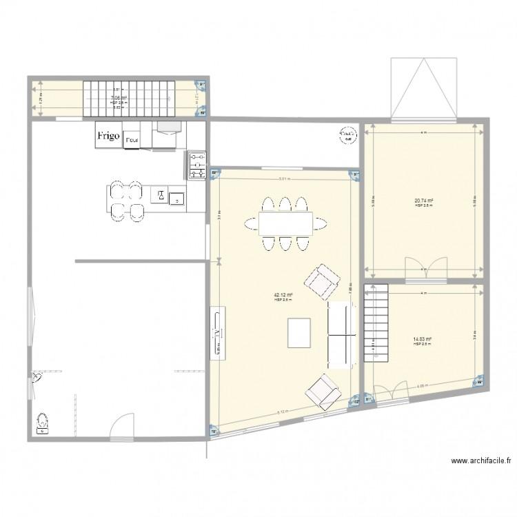 rez de chausse plan 4 pi ces 85 m2 dessin par isab16. Black Bedroom Furniture Sets. Home Design Ideas