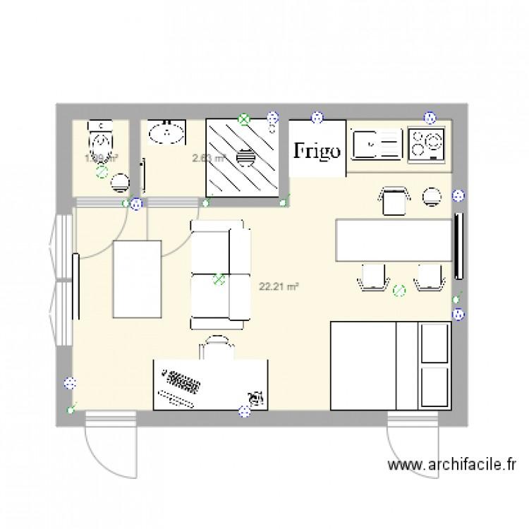 studio garage quimper plan 3 pi ces 26 m2 dessin par luc2963. Black Bedroom Furniture Sets. Home Design Ideas