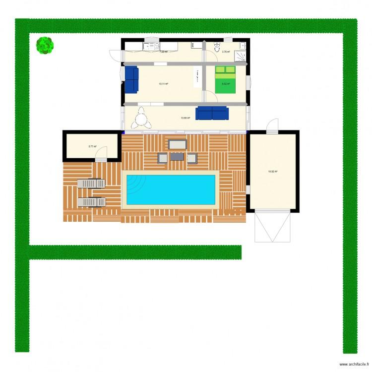 Plan de base maison lanton plan de 7 pi ces et 66 m2 - Plan de maison 2 pieces ...