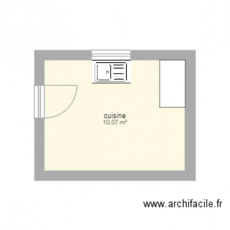cuisine plan 1 pi ce 10 m2 dessin par myanatalia. Black Bedroom Furniture Sets. Home Design Ideas