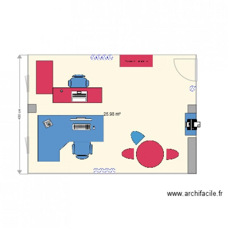 Bureau pole recherche plan 1 pi ce 26 m2 dessin par for Nombre de m2 par personne bureau