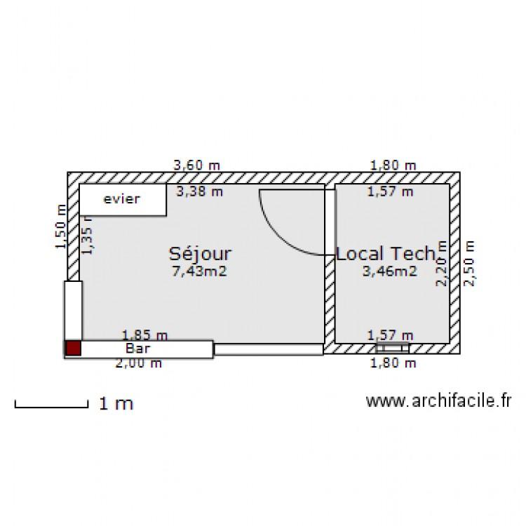 poolhouse plan 2 pi ces 11 m2 dessin par cdupre. Black Bedroom Furniture Sets. Home Design Ideas