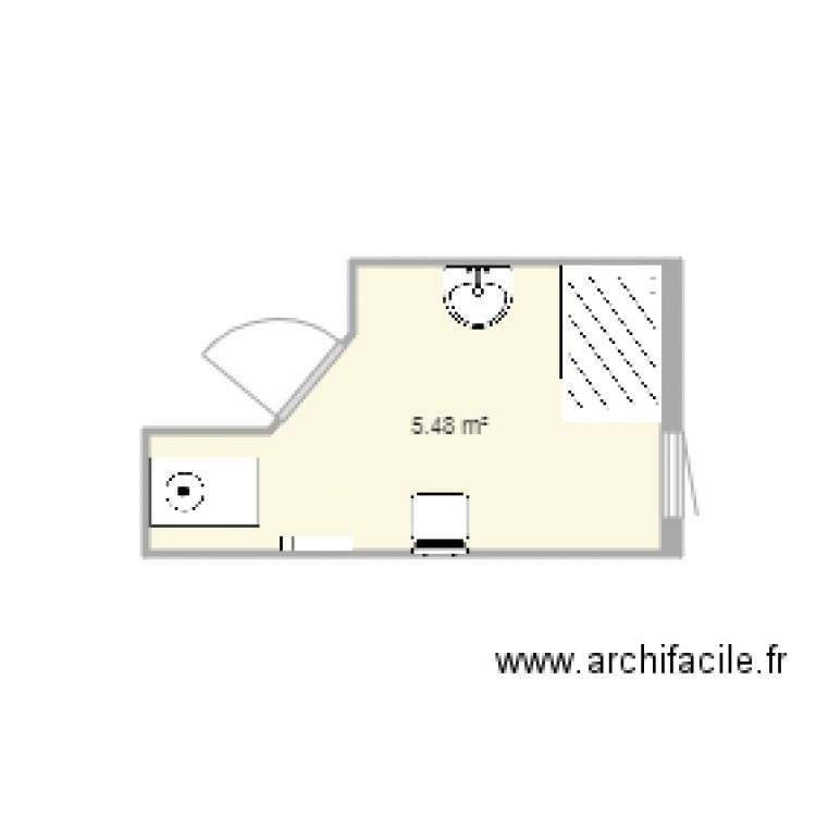 salle de bain apr s 2 plan 1 pi ce 5 m2 dessin par amand7. Black Bedroom Furniture Sets. Home Design Ideas