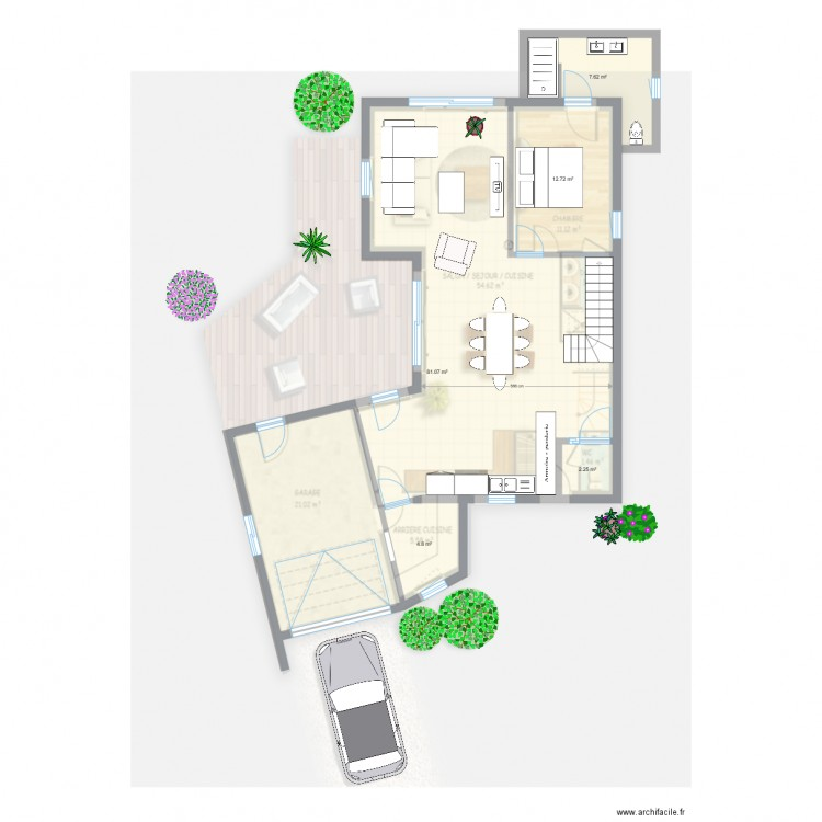 Ma maison rez de chauss e 01 plan 5 pi ces 108 m2 for Plan de maison 5 pieces