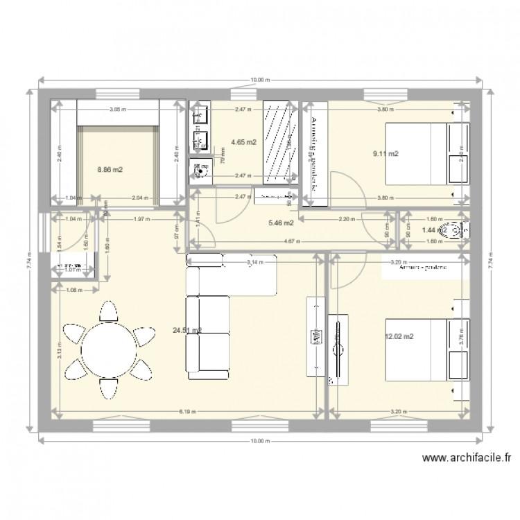 plan de maison 2 plan 7 pi ces 66 m2 dessin par gridlock. Black Bedroom Furniture Sets. Home Design Ideas