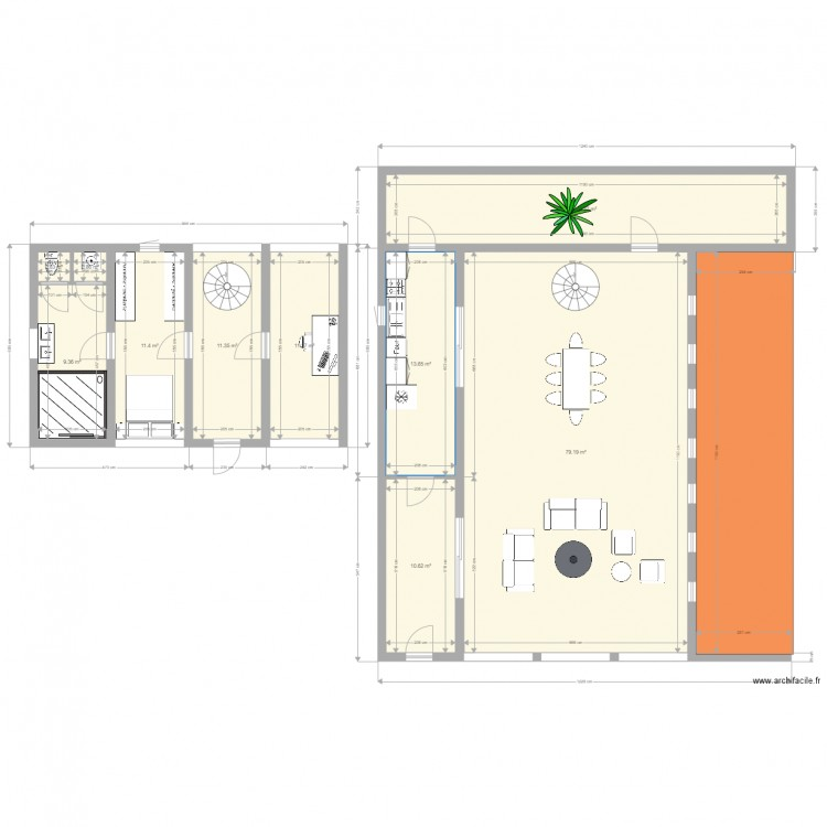 Maison container plan 10 pi ces 173 m2 dessin par for Maison container 50 m2