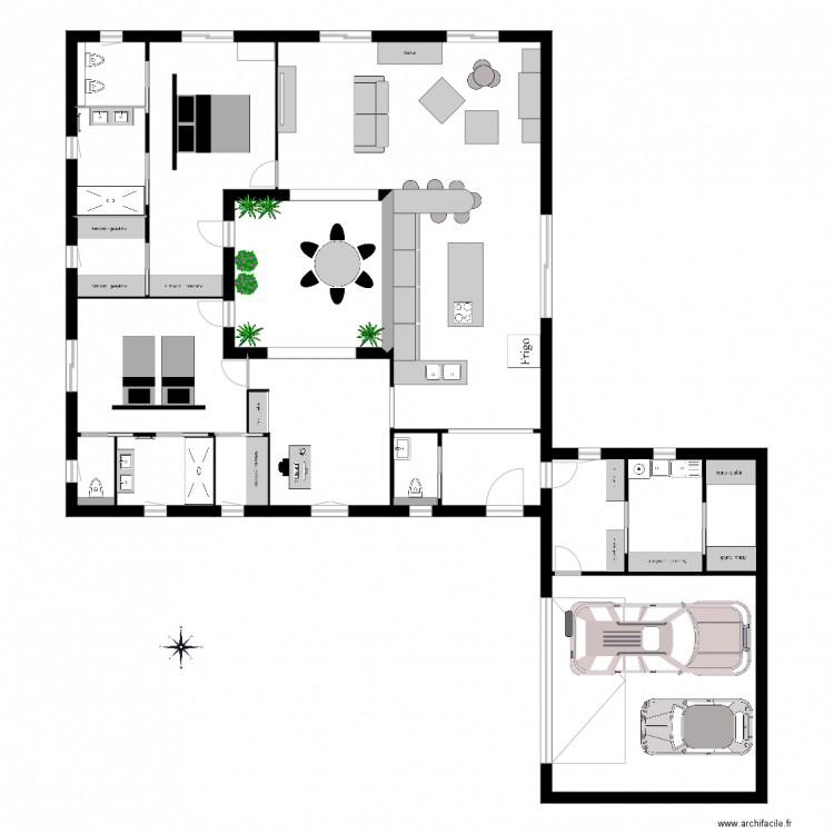 Maison patio avec mobilier plan 17 pi ces 200 m2 dessin for Dessiner plan patio