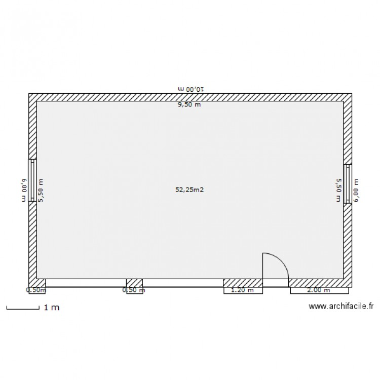 Plan de masse garage plan 1 pi ce 52 m2 dessin par gaby63 for Taille d un garage